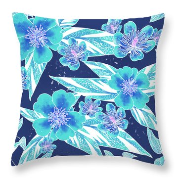 Turquoise Batik Camellias And Ginger Large Throw Pillow