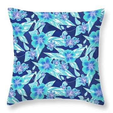 Turquoise Batik Ginger Small Throw Pillow