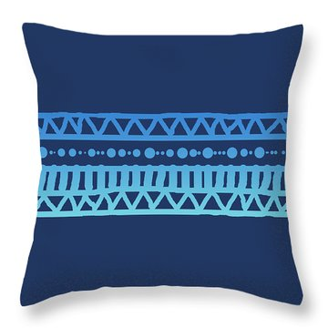 Turquoise Batik Tribal Stripe Throw Pillow