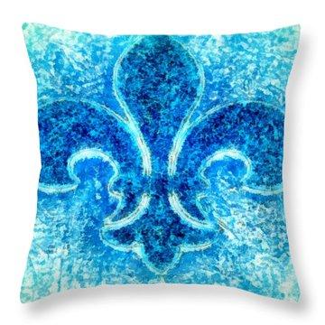 Turquoise Bleu Fleur De Lys Throw Pillow by Janine Riley