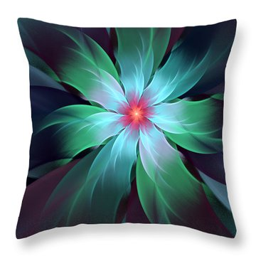 Turquoise Bloom Throw Pillow