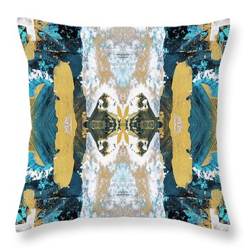 Turquoise Blue Art Pattern Throw Pillow
