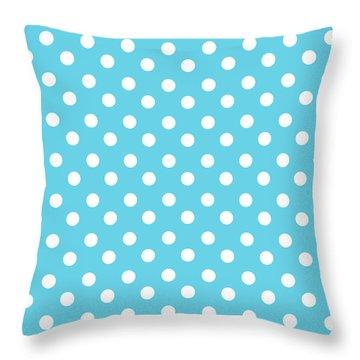 Turquoise Blue Polka Dots Throw Pillow
