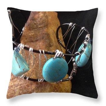 Turquoise Cabochon Bracelet Throw Pillow