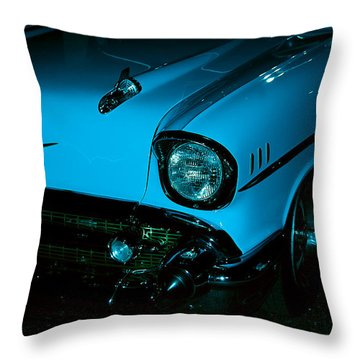 Turquoise Chevy Throw Pillow by DigiArt Diaries by Vicky B Fuller