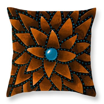 Turquoise Core - Abstract Art Throw Pillow