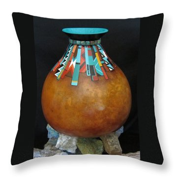 Turquoise Design Gourd Throw Pillow