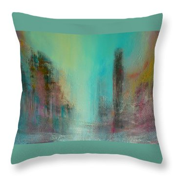 Turquoise Evening Throw Pillow by Denise Cloutier