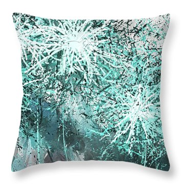 Throw Pillow featuring the painting Turquoise Explosions - Blue And Gray Modern Art by Lourry Legarde