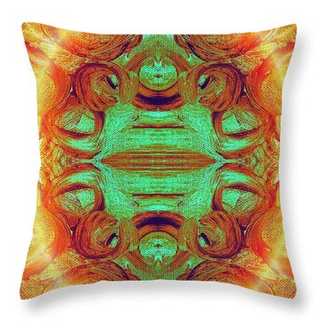 Turquoise Fire Throw Pillow