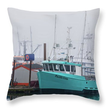 Turquoise Fishing Boat Throw Pillow by Jerry Fornarotto