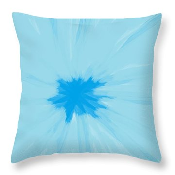 Turquoise Flower Abstract Throw Pillow by Linda Velasquez