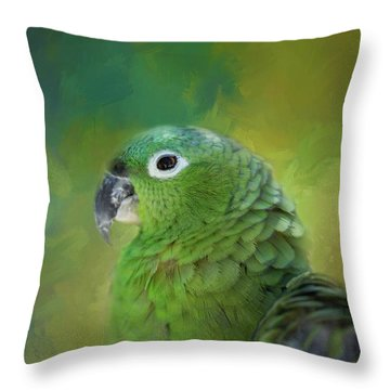 Turquoise-fronted Amazon Throw Pillow by Eva Lechner