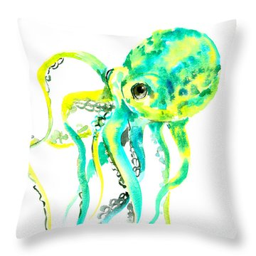Turquoise Green Octopus Throw Pillow