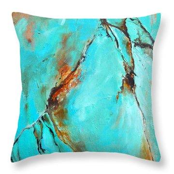 Turquoise Impression Throw Pillow