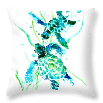 Turquoise Indigo Sea Turtles Throw Pillow