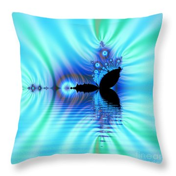 Turquoise Lake Fractal Throw Pillow