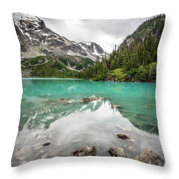 Turquoise Lake In The Mountains Throw Pillow