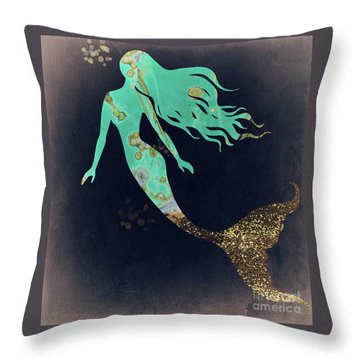 Turquoise Mermaid Throw Pillow