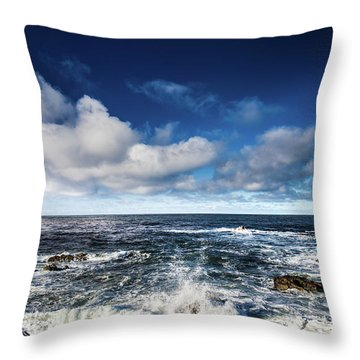 Throw Pillow featuring the photograph Turquoise Pacific Ocean Sea Water Rolling Waves And Rock With Bl by Jingjits Photography
