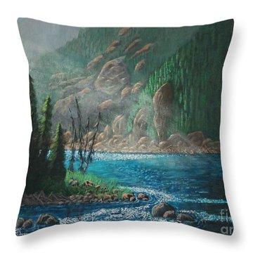 Turquoise River Throw Pillow