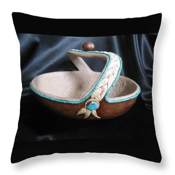 Turquoise Rope Throw Pillow by Barbara Prestridge