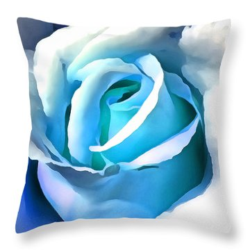 Turquoise Rose Throw Pillow