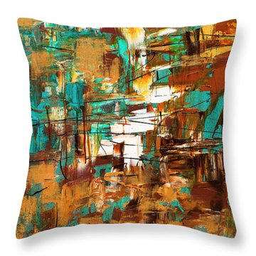 Throw Pillow featuring the painting Turquoise Scent by Carmen Guedez