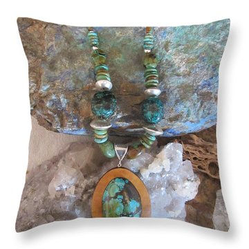 Turquoise Set In Gourd Wood #d142 Throw Pillow