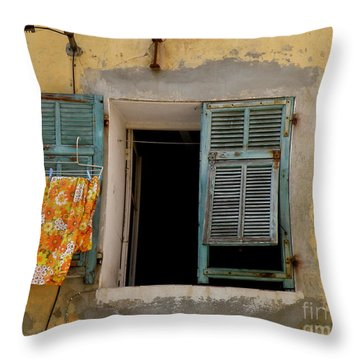 Turquoise Shuttered Window Throw Pillow