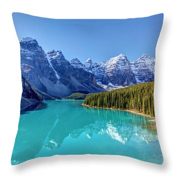 Turquoise Splendor Moraine Lake Throw Pillow