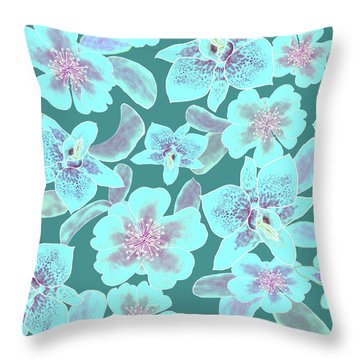Turquoise Spotted Orchids On Teal Throw Pillow
