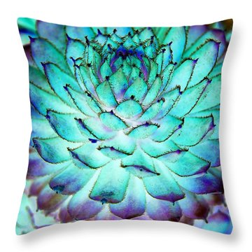 Turquoise Succulent 1 Throw Pillow by Marianne Dow