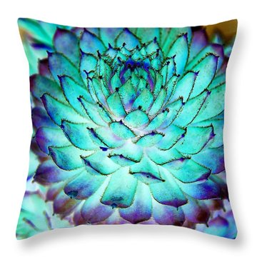 Throw Pillow featuring the photograph Turquoise Succulent 2 by Marianne Dow