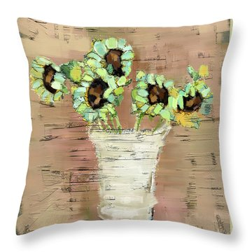 Throw Pillow featuring the painting Turquoise Sunflowers by Carrie Joy Byrnes