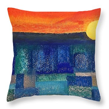 Turquoise Sunset Throw Pillow
