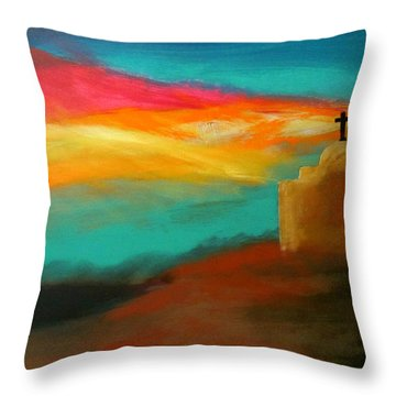 Turquoise Trail Sunset Throw Pillow by Keith Thue