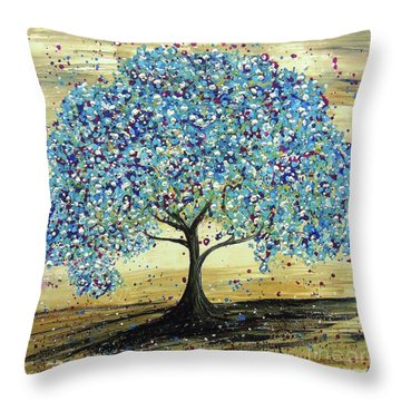 Turquoise Tree Throw Pillow