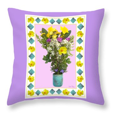Throw Pillow featuring the digital art Turquoise Vase With Spring Bouquet by Lise Winne