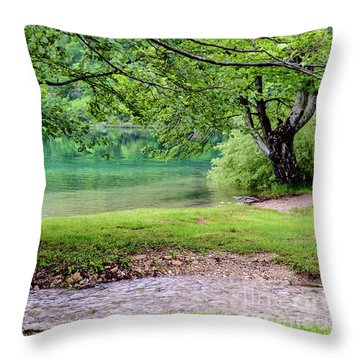 Turquoise Zen - Plitvice Lakes National Park, Croatia Throw Pillow