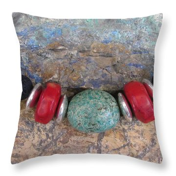 Turquoise,coral And Lava #s53 Throw Pillow