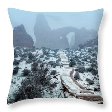 Turret Arch In The Fog Throw Pillow