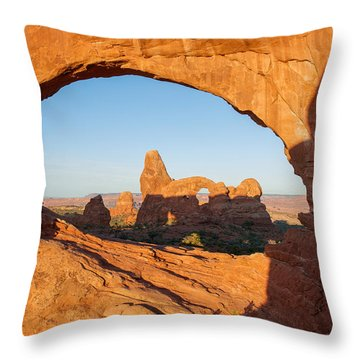 Throw Pillow featuring the photograph Turret Arch Through North Window by Aaron Spong