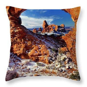 Turret Arch Through North Window Arches National Park Utah Throw Pillow
