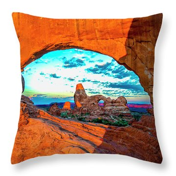 Throw Pillow featuring the photograph Turret Arch Through Window by Norman Hall