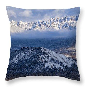 Turret Ridge In Winter Throw Pillow