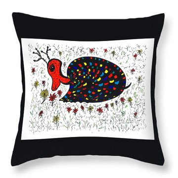 Snurtle Snail Turtle And Flowers Throw Pillow