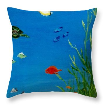 Turtle And Friends Throw Pillow by Jamie Frier