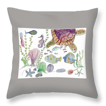 Turtle And Sea Life Throw Pillow