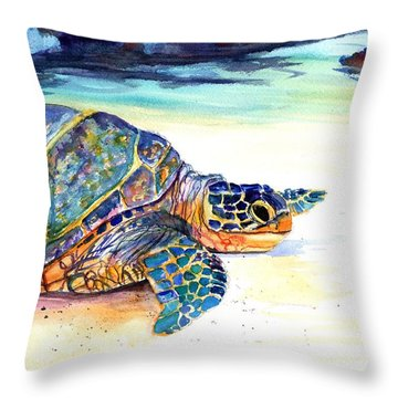 Turtle At Poipu Beach 2 Throw Pillow by Marionette Taboniar